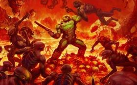 Картинка огонь, черти, герой, солдат, броня, твари, DooM