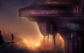 Картинка небо, облака, закат, город, огни, будущее, робот