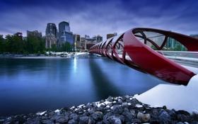Картинка мост, город, река, Канада