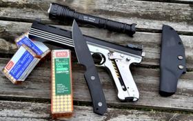 Обои gun, knife, Handgun, 22 LR
