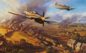 Обои небо, самолет, атака, дым, дома, танк, поле боя