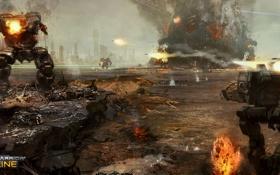 Картинка вода, город, взрывы, роботы, бой, Atlas, Jenner