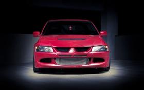 Обои красный, Mitsubishi, Lancer, red, Evolution, ёлочка, лансер
