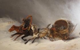 Обои Павловск, лошади, живопись, картины, зима, АGreshnov
