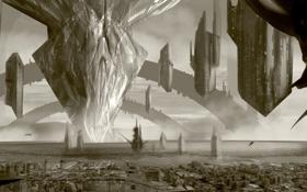 Картинка город, здания, арт, сооружения, башни, летающие