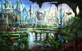 Картинка деревья, город, орел, мир будущего
