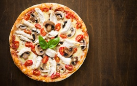 Картинка грибы, сыр, мясо, пицца, помидоры, pizza, cheese