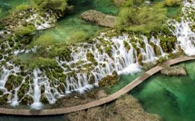 Картинка водопады, мост, река, вид сверху
