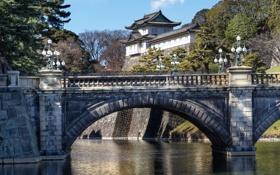 Картинка Токио, Япония, Nijubashi Bridge, Imperial Palace, Императорский дворец, мост, Japan
