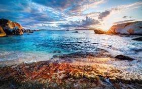 Обои море, небо, облака, закат, природа, фото, рассвет