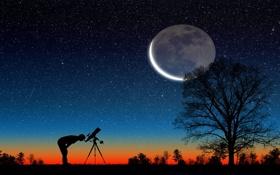 Обои небо, звезды, пейзаж, природа, луна