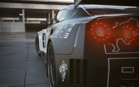 Картинка машина, капли, арт, черная, Nissan, Andrej Stefancik, GT1 GT-R