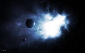 Обои туманность, планеты, спутник, свечение