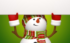 Обои new year, christmas, cute, snowman, banner, рендеринг, снеговик