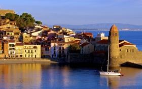 Обои франция, collioure, море, побережье, дома