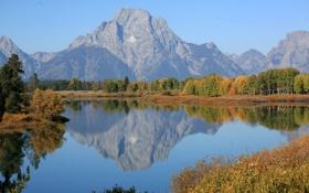 Картинка осень, лес, горы, природа, озеро