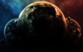Обои звезды, планеты, свечение, спутники, the triad