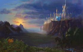 Обои небо, пейзаж, замок, лошадь, арт, черная, всадник