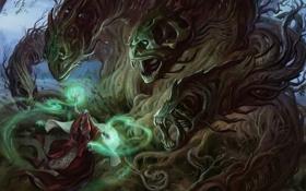 Обои девушка, корни, магия, монстр, арт, маг, головы