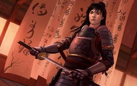 Обои меч, катана, арт, самурай, иероглифы, мужчина, броня