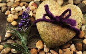 Картинка фиолетовый, подарок, камень, сердце, бантик, Stone heart