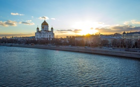 Обои небо, облака, река, Москва, храм, Россия, Moscow