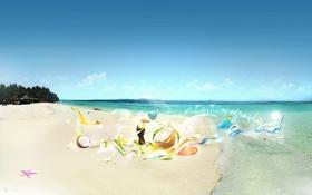 Обои пляж, птичка, море