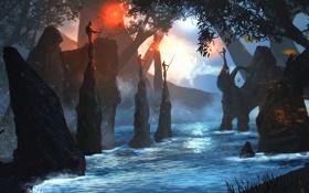 Картинка деревья, река, люди, отец, арт, сын