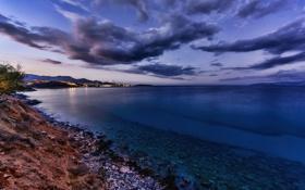 Картинка облака, закат, город, огни, побережье, остров, вечер