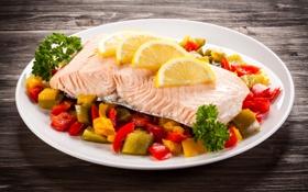 Обои pepper, lemon, рыба, fish, лимон, перец
