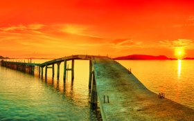 Обои закат, мост, красное, Панорама
