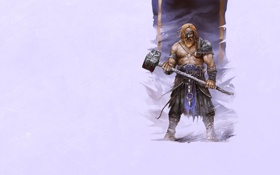 Обои повязка, VIKING, доспехи, молот, викинг, борода