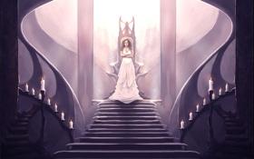 Картинка девушка, свечи, платье, трон