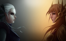 Обои девушка, lol, League of Legends, Leona, diana, Scorn of the Moon, The Radiant Dawn