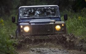 Обои внедорожник, передок, Defender, грязь, Land Rover, фон, Ленд Ровер