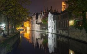 Картинка Брюгге, Бельгия, дома, ночь, мост, канал, огни