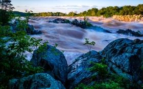 Обои закат, камни, река, небо, поток, пороги
