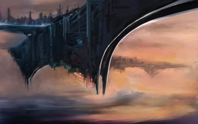 Обои город, фантастика, арт, космический корабль, by cloudminedesign, летающий, wip 2
