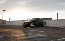 Обои небо, солнце, Audi, ауди, чёрная, парковка, black