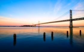 Картинка дорога, море, небо, вода, мост, цвет, утро