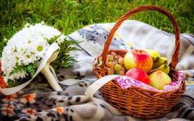 Картинка цветы, природа, корзина, яблоки, букет, виноград, бананы