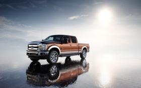 Обои песок, пляж, отражение, Ford F-series