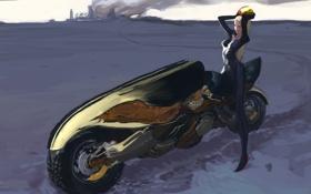 Обои девушка, город, фантастика, дым, арт, мотоцикл, шлем