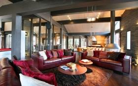 Обои диваны, столик, кухня., дом, книги, коврик