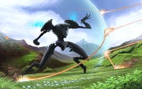 Обои трава, цветы, горы, Робот, щит, выстрелы, защитное поле