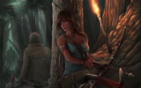Картинка девушка, оружие, люди, лук, арт, факел, Tomb Raider