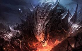 Обои fire, mountain, creature, flakes
