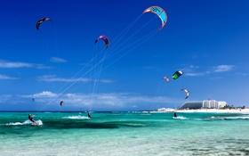 Обои кайт серфинг, Тенерифе, Канарские острова, кайтинг