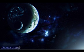 Обои космос, свет, планеты, спутники