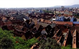 Картинка город, фото, дома, Австрия, сверху, Styria Graz
